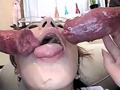 Slutty japanese blowing two hard dicks