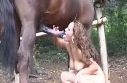 Horny slut swallows horse's cum